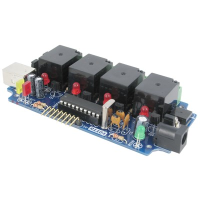 4-Channel USB Relay Board with 6-Channel A/D Interface