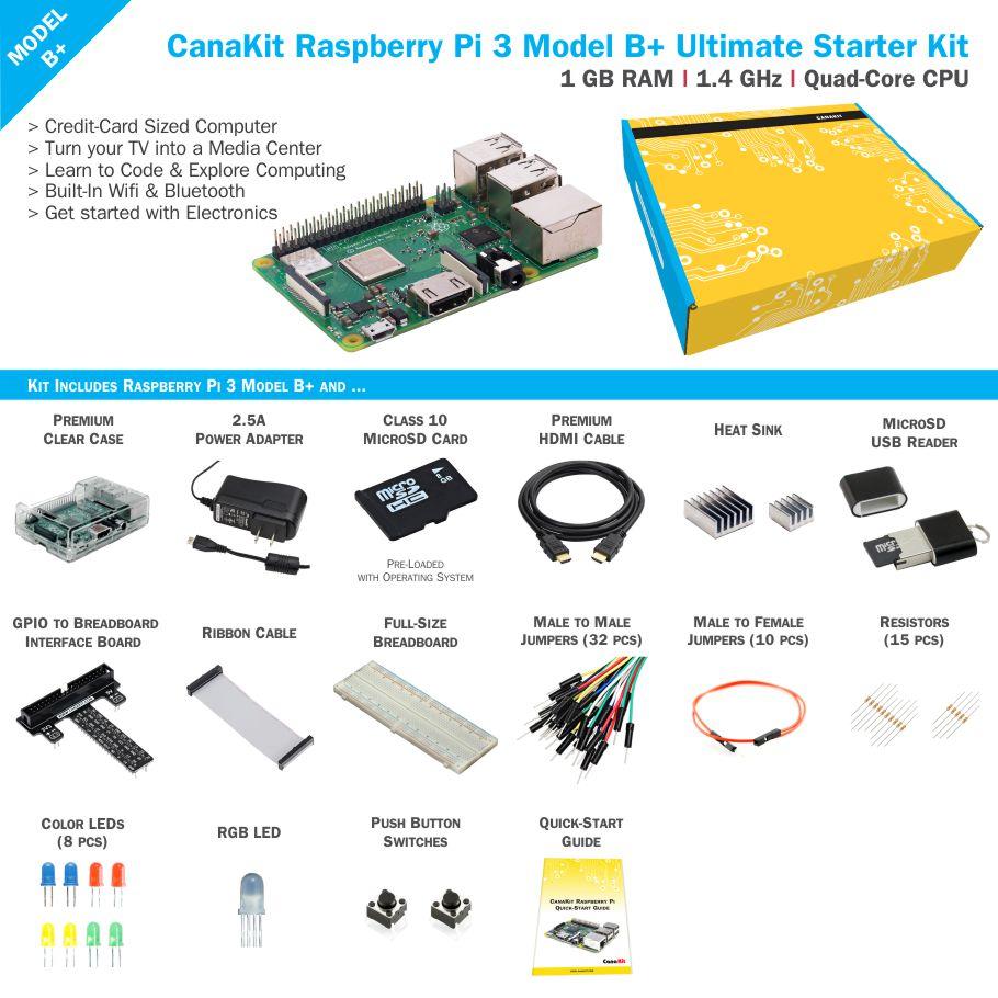 Raspberry Pi 3 Model B Ultimate Kit Pi3 2 X Green Leds Yellow Blue Push Button Switches 10 220 Ohm Resistors 5 10k
